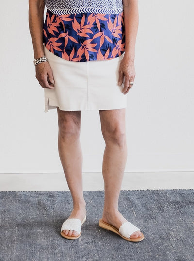 Tribal Pull On Released Hem Stretch White Skirt