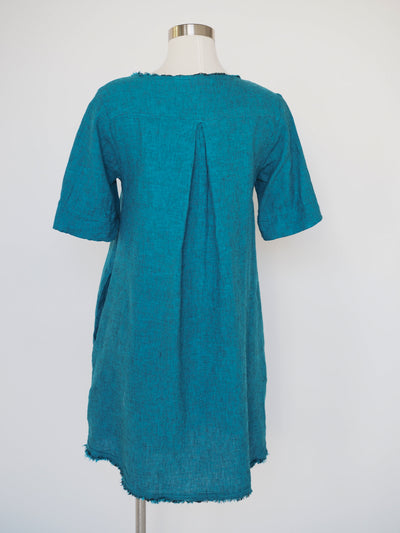 CutLoose Crosshatch Bahama Blue Short Sleeve Dress
