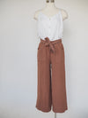 Tribal Rust Wide Leg Crop with Ribbon Belt