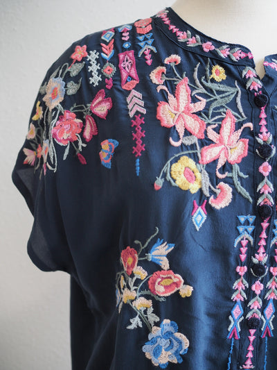 Johnny Was Biya Gardenia Silk Blouse