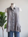 Grey Washed Sleeveless Frayed Hem Top