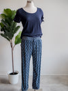 Liverpool Blue Batik Pull-on Printed Pant