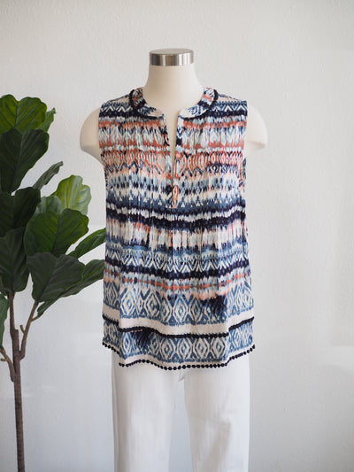Tribal Gazelle Print Sleeveless Top With Tuck Pleats