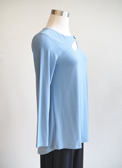 Last Tango Denim Button Strap Neckline Top