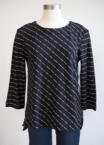 Habitat Black Stripe Boat Neck Top