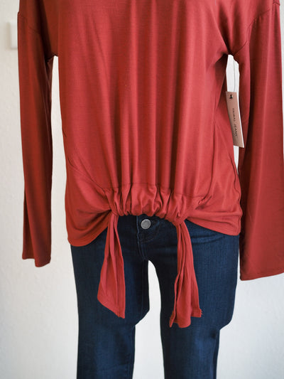 Tribal Maple Long Sleeve Top With Adjustable Front Knot