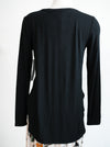 Tribal Black Long Sleeve Crew With Side Slits