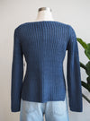 Tribal Knit Boat Deep Skiy Blue Neck Sweater