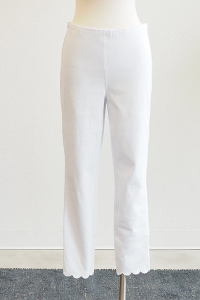Tribal Clothing Flatten It White Capri W/ Scallop Hem