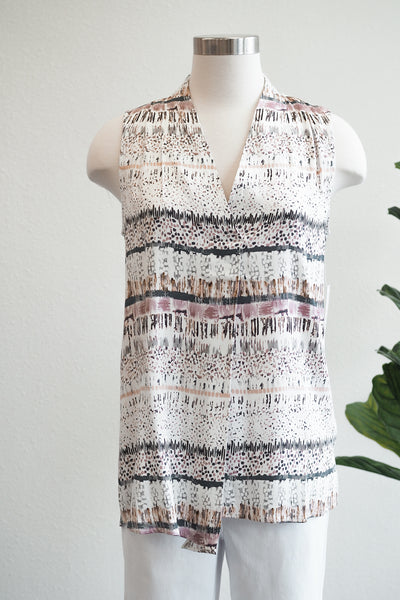 Tribal Lilac Print Sleeveless Blouse