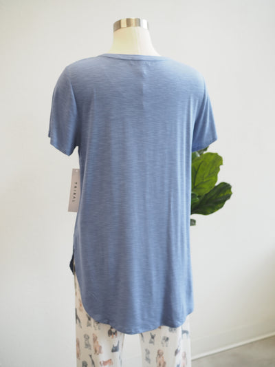Tribal Short Sleeve Crew Neck Tee W/ Side Slit - Steel Blue