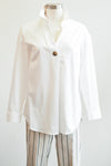 Tribal Clothing Roll Up Sleeve White Collared Blouse