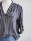 APNY Black Striped Roll Sleeve Blouse
