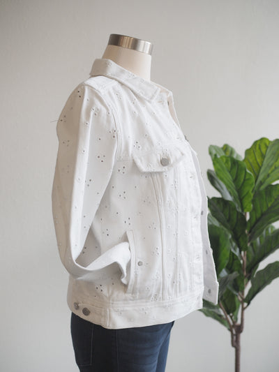 Liverpool Classic Jean Jacket White Lace
