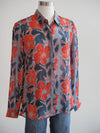 APNY Red Floral Button Front Blouse