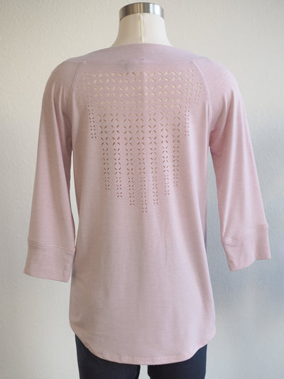 Tribal Lilac Boatneck Lace Back Top
