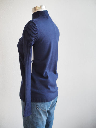Tribal Dark Marine Mock Neck Sweater