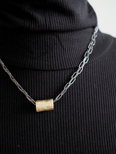 Erin Gray Barrel on Double Gunmetal Necklace