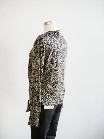 Tribal Olive Spot Tie Front Blouse