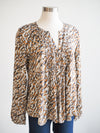 Tribal Pleated Leopard Print Blouse
