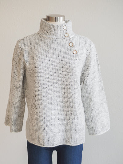Habitat Button Collar Pullover Sweater in Natural