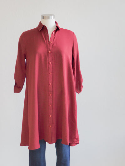 Apricot Swing Shirt Dress in Burgundy