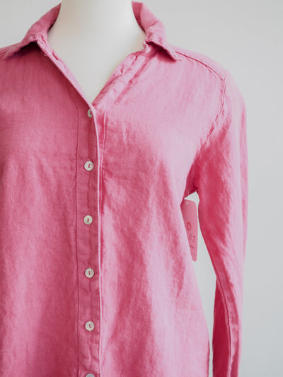 Cut Loose V-Neck Shirt-Solid Linen Cherry Fizz
