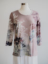 Katina Marie Mauve Floral High Low 3/4 Sleeve Top