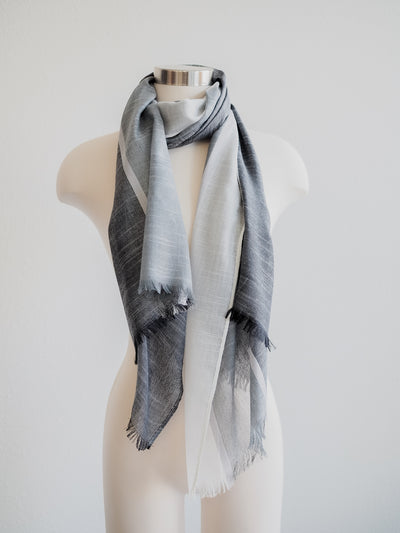 Saro Block Stripe  Black and White Scarf