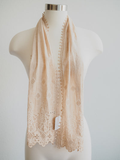 Simple Lace Taupe Scarf