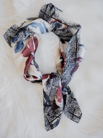Silky Scarf-Abstract Ivory Flower Print