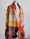 V Frass Plaid Rust Scarf