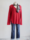 Wooden Ships Shirt Tail V-Neck Tunic-Red Chile