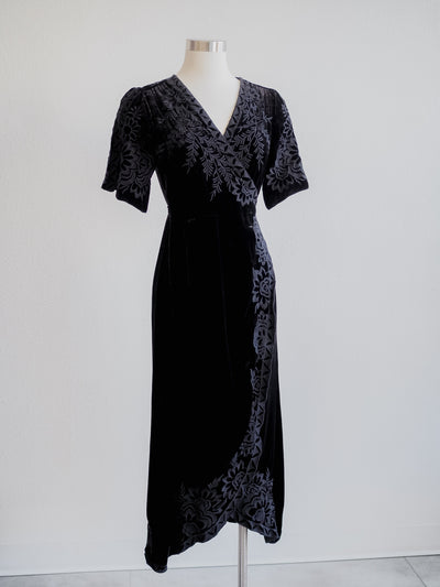 Johnny Was Mina Black Velvet Wrap Dress