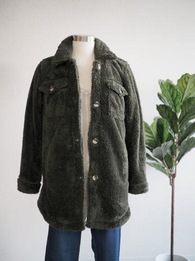 PJ Salvage Olive Cozy Jacket