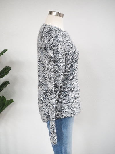 Tribal Boat Neck Grey Mix Sweater