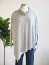 Apricot Roll Neck Asymmetric Hem Grey Sweater