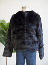 Apricot Tiered Black Fur Jacket