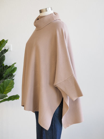 Apricot Roll Neck Oversized Stone Poncho