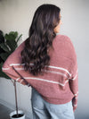 Rustic Clay Striped Oversized Sweater
