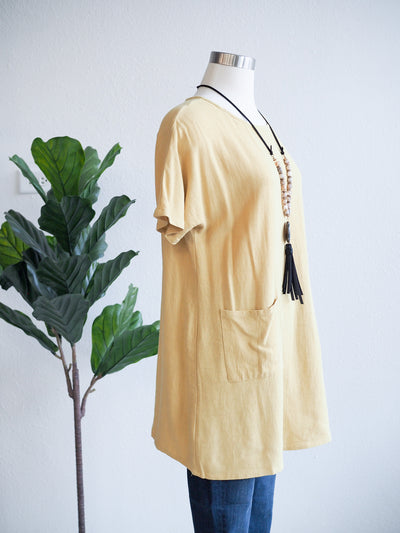 Before You Linen Dress In Marigold