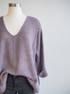 Before You 3/4 Sleeve Lilac Pullover Sweater