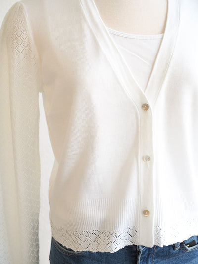 Tribal L/S Pointelle White Sweater Cardigan