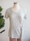 Tribal Clothing Light Grey Short Sleeve Tie Front Top