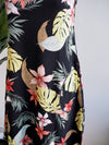 Tribal Sleeveless Reversible Tropical Print Black Dress