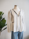 Tribal Black and White Embroidered Blouse