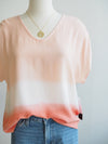 Tribal Ombre Coral Drop Shoulder Blouse