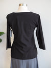 Cut Loose 3/4 Sleeve Tuck Front Black Top