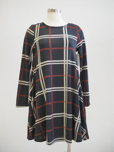 Apricot Navy Check Pocket Swing Dress