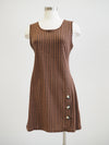 Apricot Rust Herringbone Jacquard Button Dress